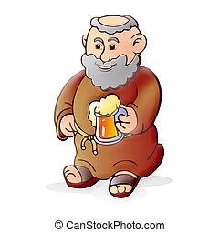 viejo, monje, cerveza
