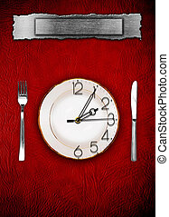 Menu Dishware and clock Concept restrictions in food
