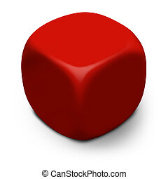 Blank DieDice - XL - Modern blank red 3D cube isolated on a...