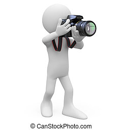 Man taking a picture with his SLR camera Rendered on a white...