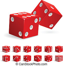 Set realistic red dice. Illustration on white background