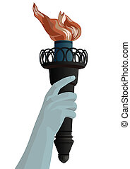 Hand with a torch - Hand with a burning torch. The...