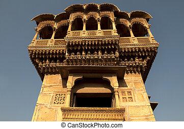 vieux, Ancien, haveli, Jaisalmer, fort