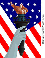 U.S. flag and a burning torch
