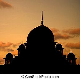 mosque silhoutte during sunset