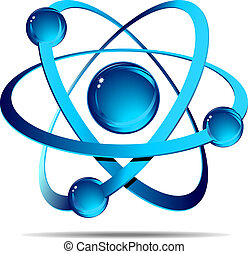 Atom - Depiction of atom with shadow on a white background