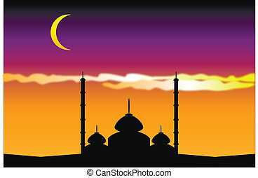 Silhouette of mosques in moon night