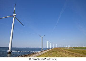 Mills at dutch dike - Modern windmills at Dutch dike