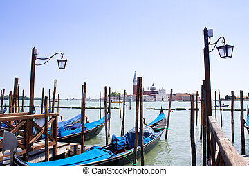 Gondolas in Venice with view over canal