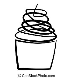 cupcake - illustration of a cupcake on a white background