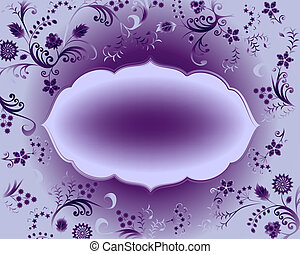 oval frame curly, decorated with a floral design gradient
