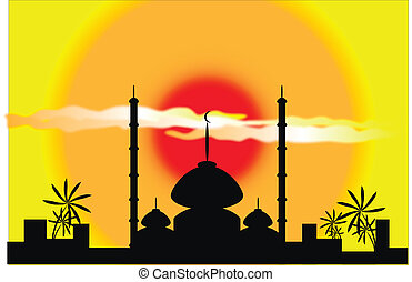 Vector mosque silhouette at sunset