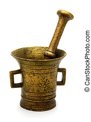Old bronze mortar - Antique bronze mortar and pestle...