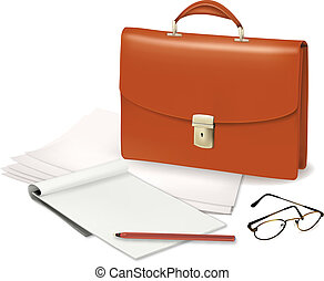 A briefcase and notebook