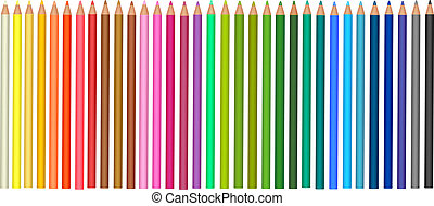 Group of colored pencils. Vector.