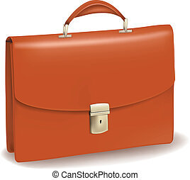Business brown briefcase. Photo-realistic vector.