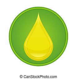 drop oil sign yellow color on the green circle isolated