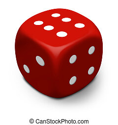 Dice 3D - XL - Modern 3D red dice/die that rolled a six,...