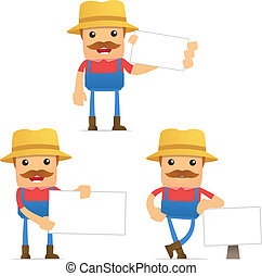 set of funny cartoon farmer in various poses for use in...