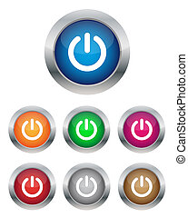 Power buttons - Collection of power buttons in various...