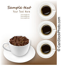 Design with cup of coffee and coffee grains Vector
