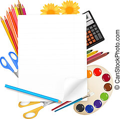 Back to school. background with colored pencils. Vector ....