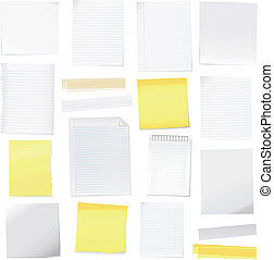 Vector paper note and post-it collection set