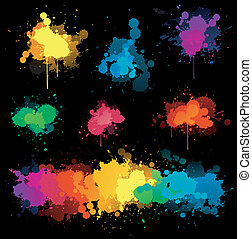 Color splash on black - paint splat on black