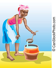African girl - This is african girl pour water in bucket