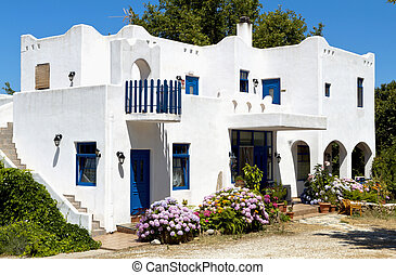 Traditional greek house at Samothraki island in Greece