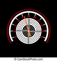 Car speedometer with a target in the middle.