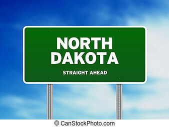 North Dakota Highway Sign - Green North Dakota, USA highway...