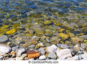 Detail image of a rocky beach at Samothraki island in Greece
