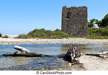 Samothraki island in Greece - Byzantine era tower of 'Fonia'...