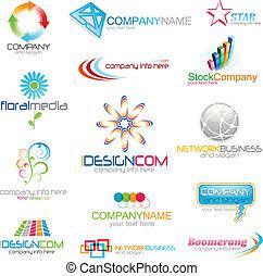 incorporado, logotipo, ícones
