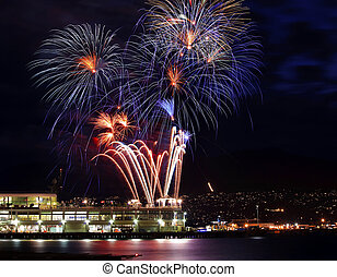 Red Blue White Fireworks Vancouver Harbor British Columbia -...