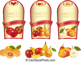 Three labels with different fruit - Gold labels with...