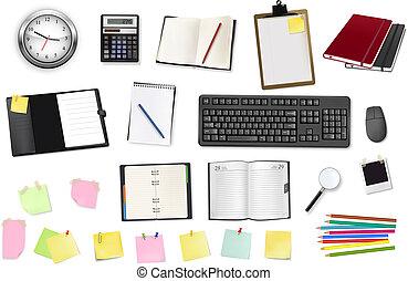 A clock, calculators, notebooks