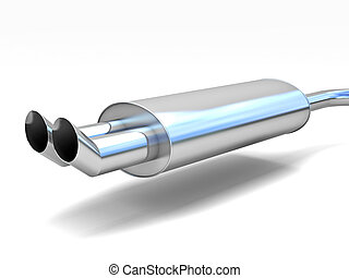 car silencer - fine 3d image of classic double metal car...