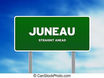 Juneau, Alaska Highway Sign - Green Juneau, Alaska, USA...