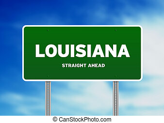 Louisiana Highway Sign - Green Louisiana, USA highway sign...
