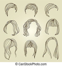 "Set of hair styling for woman (from my big ""Hair styling..."