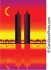 Silhouette of two skyscrapers at sunset