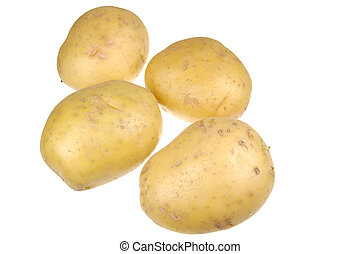 Bunch of Golden Potatoes Isolated on White