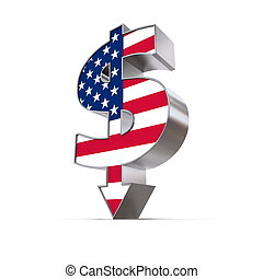 Dollar Symbol Arrow Down - United States Flag Texture -...