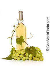 White Wine with Grape Vine - White wine in a bottle with...