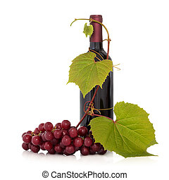 Red Wine and Grape Vine - Red wine bottle with grape fruit...