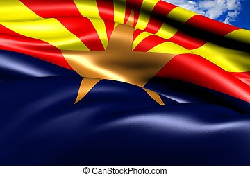 Flag of Arizona against cloudy sky. Close up.