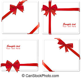 Collection of red bows. Vector.
