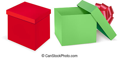 Red and green gift boxes with red ribbon. Vector